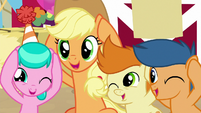 Applejack and foals covering their ears S8E18
