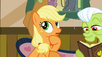"Applejack thinking ""new cooking materials"" S3E8"