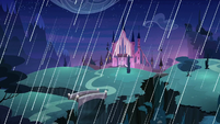 Castle of the Two Sisters in a rainstorm S7E26