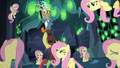 Discord surrounded by Fluttershy Changelings S6E26.png