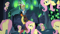 Discord surrounded by Fluttershy Changelings S6E26