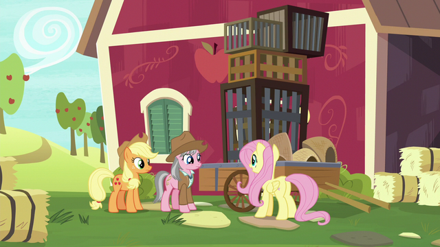 File:Fluttershy, AJ, and Wrangler at Sweet Apple Acres S7E5.png