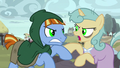 Hypnotized villager ponies start fighting S7E26.png