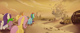 Mane Six and Spike walk toward Klugetown MLPTM