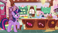 Pinkie tossing ingredients behind kitchen counter S7E23