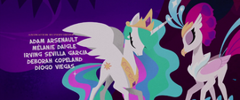 Princess Celestia and Queen Novo bow to each other MLPTM