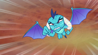 Princess Ember flying at Bear-Thorax S7E15