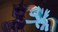 Rainbow Dash pokes suit of armor S4E03
