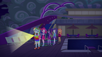 Rainbow leads her friends to ship's stern EGSB