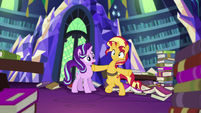 Sunset Shimmer trying to stand on two hooves EGS3