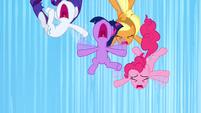 Twilight, Pinkie, Applejack, and Rarity falling S3E7