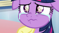 Twilight looking up at Fluttershy S9E25