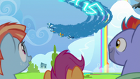 Wonderbolts streaking through the sky S7E7