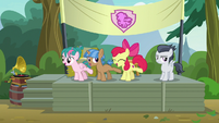 Apple Bloom and campers line-dancing on stage S7E21