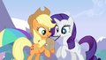Applejack and Rarity getting Rainbow's bag ready S3E7.png