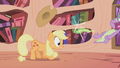 Applejack ducks under Spike's breath S1E03.png