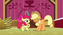 Applejack sighs in front of Apple Bloom S9E10