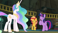 Celestia, Sunset, and Twilight laughing EGFF