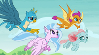 Gallus, Silverstream, Smolder, and Ocellus flying S8E1