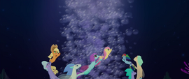 Main cast and seaponies swim up geyser of bubbles MLPTM