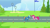 Pinkie Pie congratulates Rainbow Dash again S7E23
