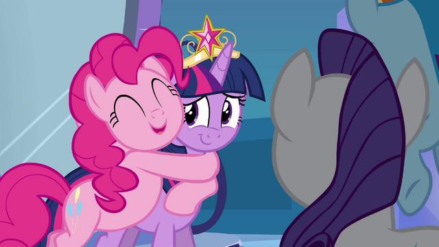 File:Pinkie Pie hugging Twilight EG.png