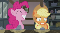 Pinkie smiling wide; AJ smiling thin S5E20
