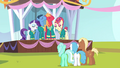 Ponies watching the Ponytones on stage S4E14.png