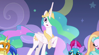 Princess Celestia acting flatly and wooden S8E7
