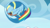 Rainbow Dash tumbling into the air S7E7