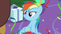 Rainbow Dash with confetti on her nose MLPBGE