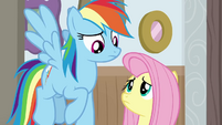 Rainbow and Fluttershy look at each other BGES3