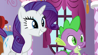 Rarity and Spike smiling at Sludge S8E24