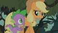 Spike and Applejack discussing possibilities about Fluttershy's fate S01E15.png