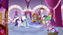 Spike notices Rarity's basket of jewels S9E26