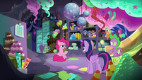Twilight and Pinkie in party-planning cave S9E26