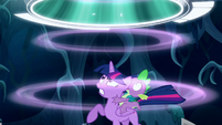 Twilight and Spike sees a portal opening above them S5E26