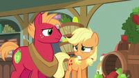 Applejack and Big Mac start to look worried S6E23