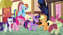 Applejack begs Twilight to help Apple Bloom S9E2