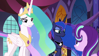 Celestia and Luna listen to Starlight Glimmer S7E10
