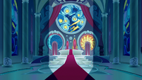 Doors open into Canterlot throne room S9E2