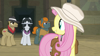 Fluttershy smiling at her new friends S9E21