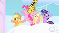 Friends cheering when Rainbow Dash and Rarity come out S1E16.png