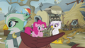 Greta crosses in front of Rainbow, Pinkie, and Gilda S5E8.png