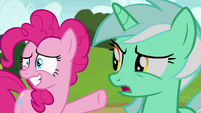 Lyra looking confused at Pinkie Pie S7E4