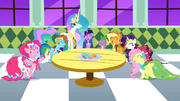 Main cast and Celestia laughing S1E26