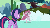 Pinkie Pie claims to be not having fun soap-skating S2E02