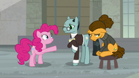 Pinkie Pie extends a hoof to Sans Smirk S9E14