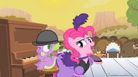 Pinkie Pie singing and Spike winking S1E21