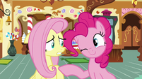 Pinkie Pie winking at Fluttershy S8E2